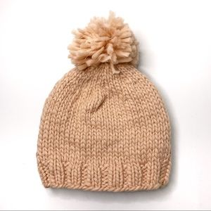 LOOK Pink Knitted Pom Pom Beanie Winter Hat